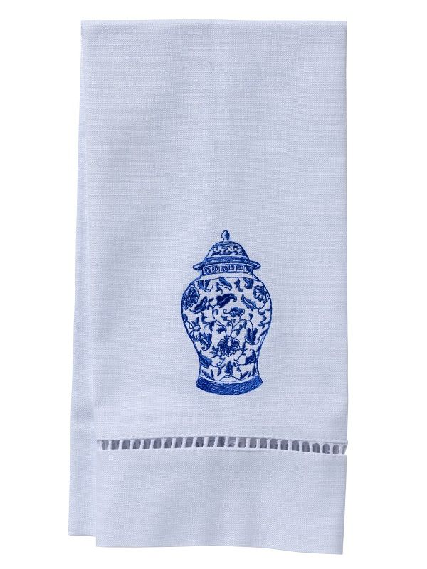 Guest Towel, White Linen/Cotton & Ladder Lace - Ginger Jar (Wide) - DG21-GJW**