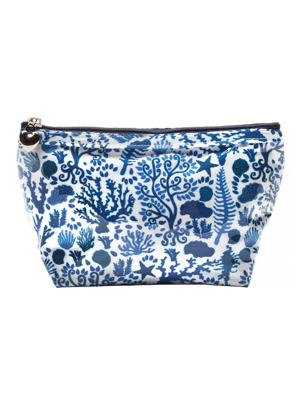 Cosmetic Bag (Small), Seashells (Blue) - DN300-SSBL