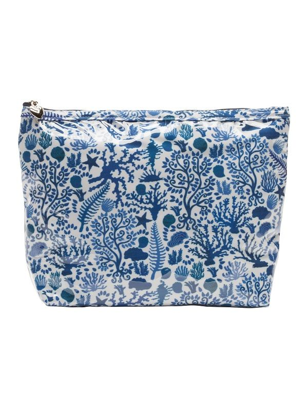 Cosmetic Bag (Medium), Seashells (Blue) - DN301-SSBL