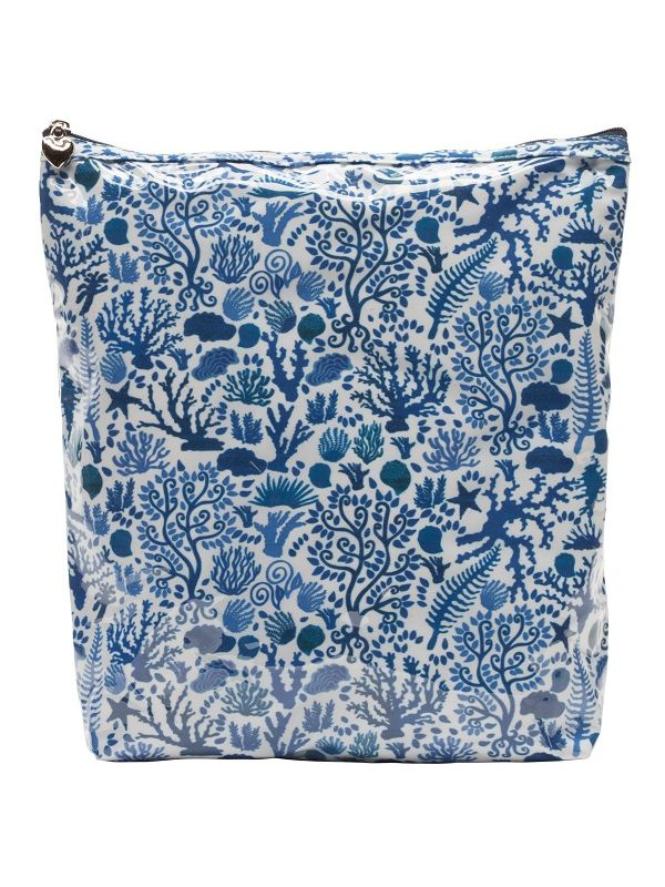 Cosmetic Bag (Large), Seashells (Blue) - DN302-SSBL