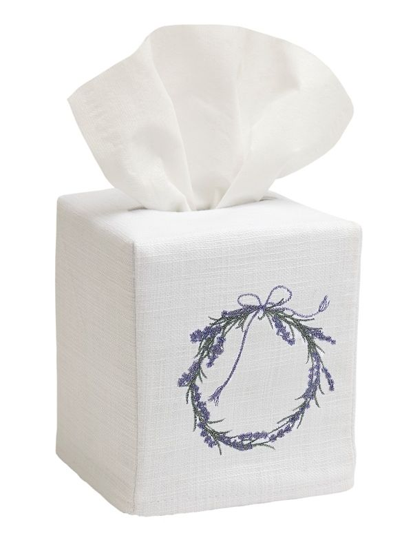 DG17-WRLV Tissue Box Cover, Linen Cotton - Wreath (Lavender)