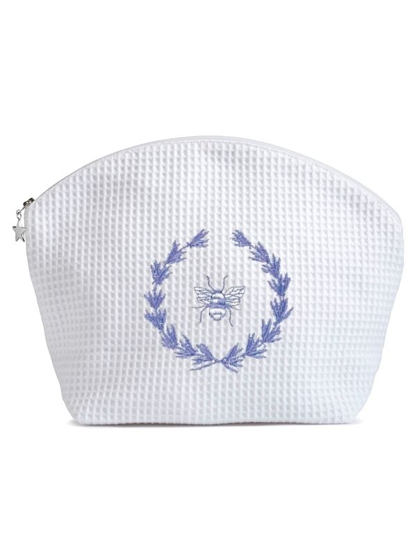 DG07-BWBL Cosmetic Bag (Large), Bee Wreath (Blue)