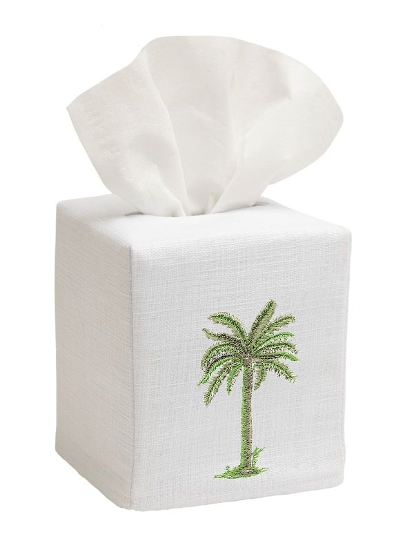 DG17-PTGR** Tissue Box Cover, Linen Cotton - Palm Tree (Green)