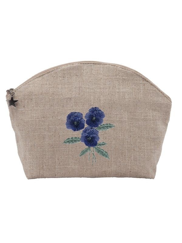 DG39-PSBL** Cosmetic Bag, Natural Linen (Large) - Pansies (Blue)