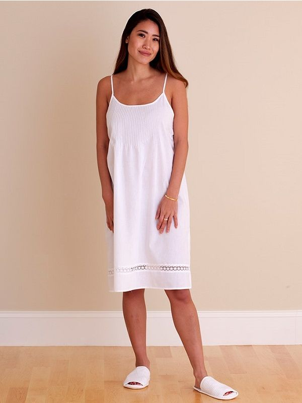 Hannah White Cotton Nightgown** - EL318