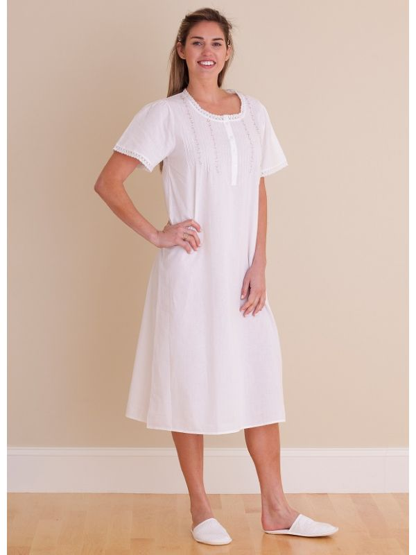 Lynn White Cotton Nightgown** - EL323