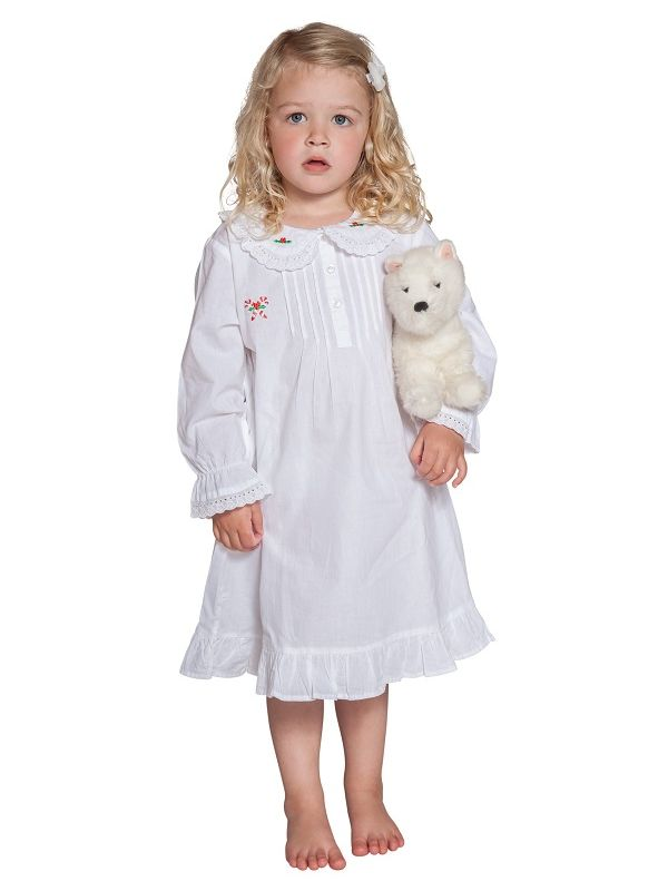 Candy Cane White Cotton Dress, Embroidered** - EL315