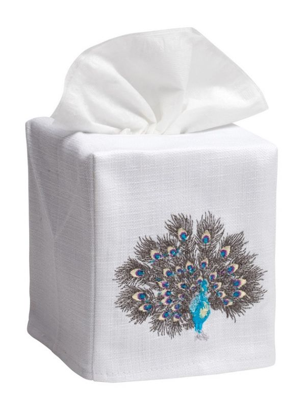 DG17-FPTPW Tissue Box Cover, Linen Cotton - Feathered Peacock (Turquoise/Pewter)