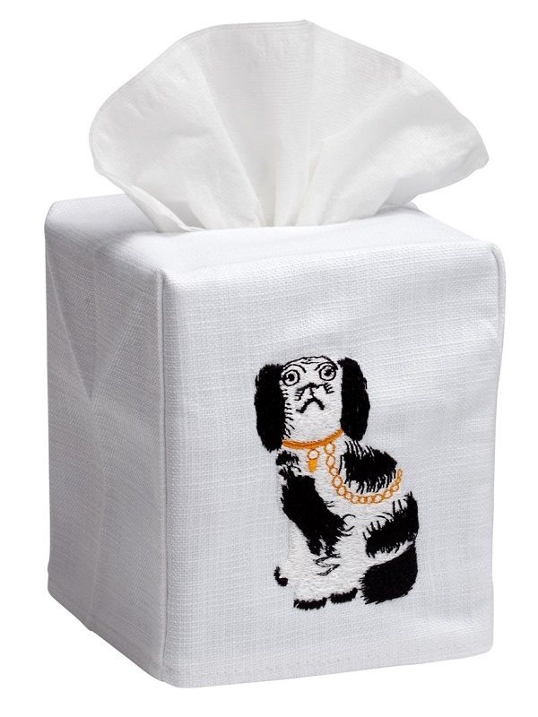 DG17-SDGBK Tissue Box Cover, Linen Cotton - Staffordshire Dog (Black/White)
