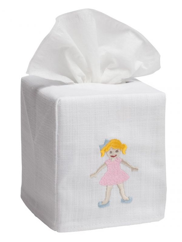 DG17-GIPK Tissue Box Cover, Linen Cotton - Girl in Pink