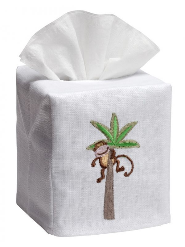 DG17-MIPT Tissue Box Cover, Linen Cotton - Monkey in Palm Tree
