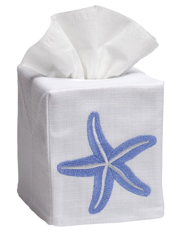DG17-SSFBL Tissue Box Cover, Linen Cotton - Solo Starfish (Blue)