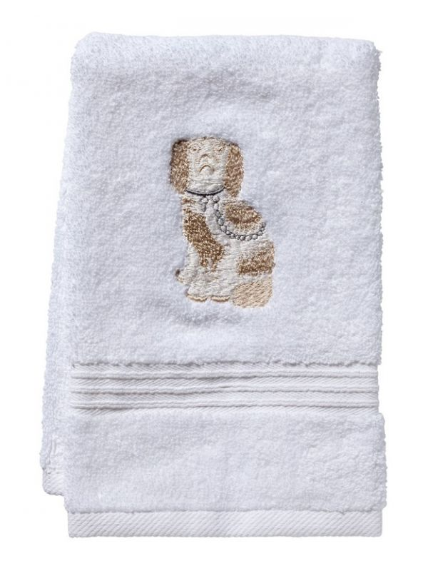 DG70-SDGBE Guest Towel, Terry - Staffordshire Dog (Beige/White)