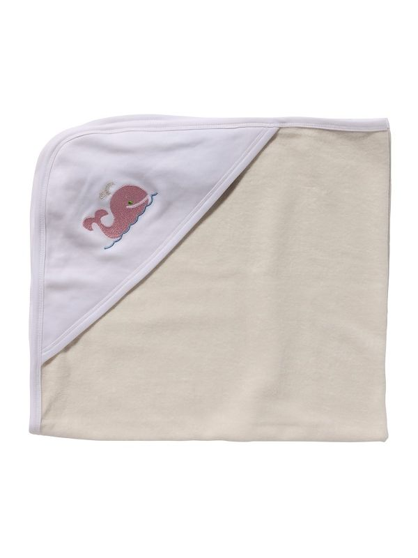 LG88-WP** Baby Hooded Towel, White Combed Cotton - Whale (Pink)