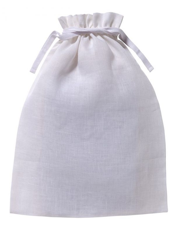 Lingerie Bag, White Cotton/Linen, Unembroidered - LG91