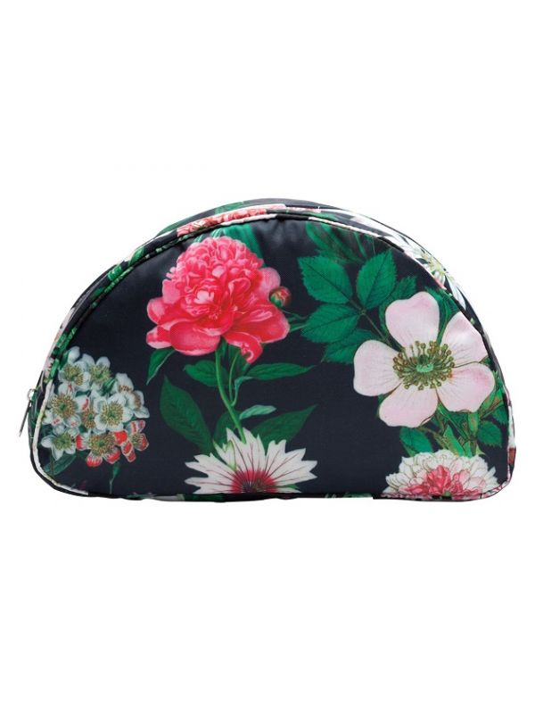 Cosmetic Bag (Medium), Peony Design (Black) - RH112-PBK