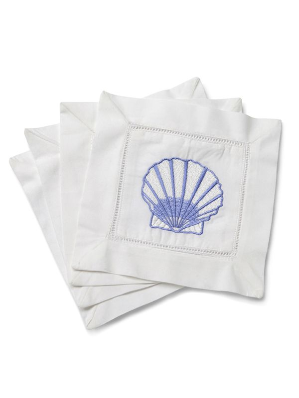 Cocktail Napkins, Scallop (Blue), Set of 4 - LG82-SCBL**