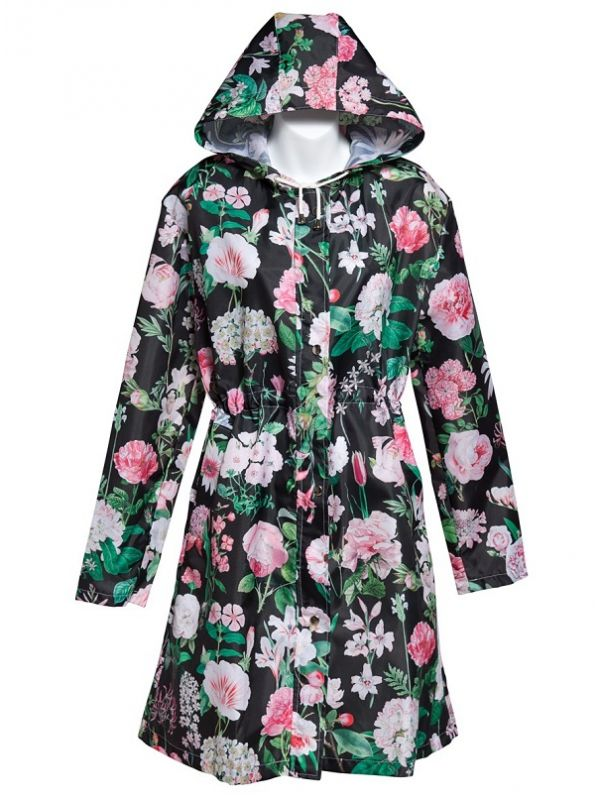 Cambridge Parka, Peony Design (Black) - RH124-PBK