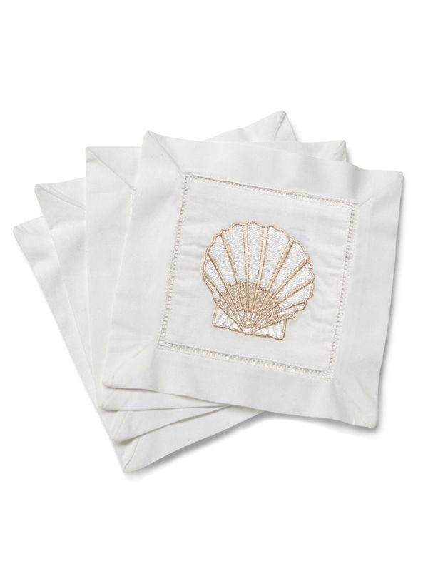 Cocktail Napkins, White Cotton, Scallop (Beige), Set of 4 - LG82-SCBE