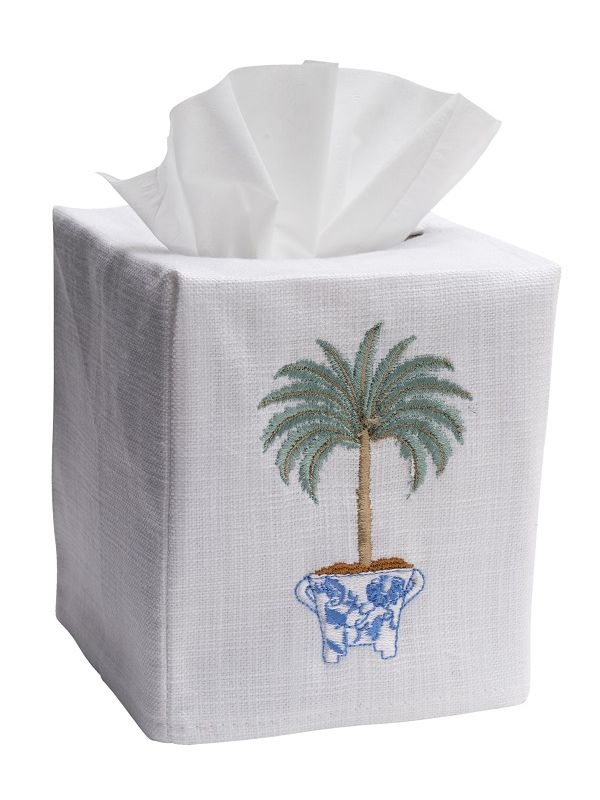 DG17-TPTO Tissue Box Cover, Linen Cotton - Tropical Palm Tree (Olive)