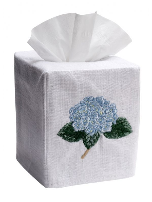 DG17-HYDTLB Tissue Box Cover, Linen Cotton - Hydrangea Too (Light Blue)