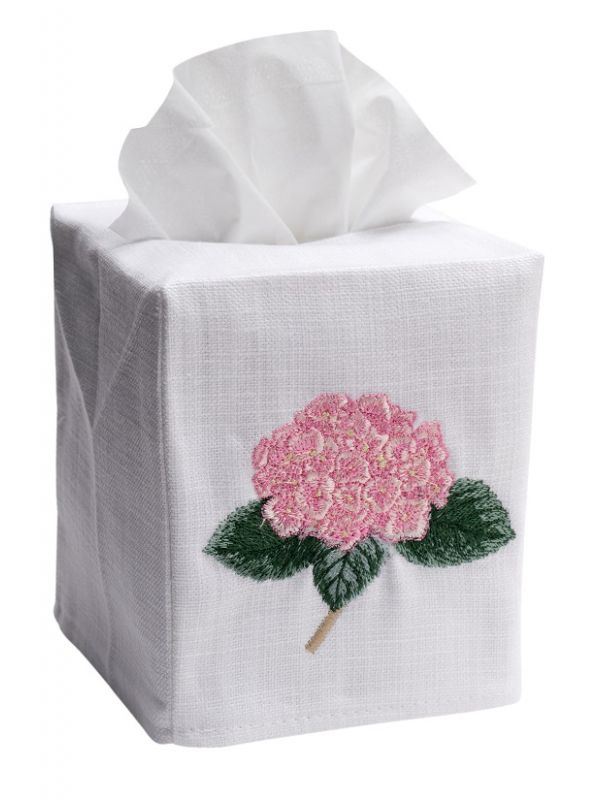 DG17-HYDTLP Tissue Box Cover, Linen Cotton - Hydrangea Too (Light Pink)