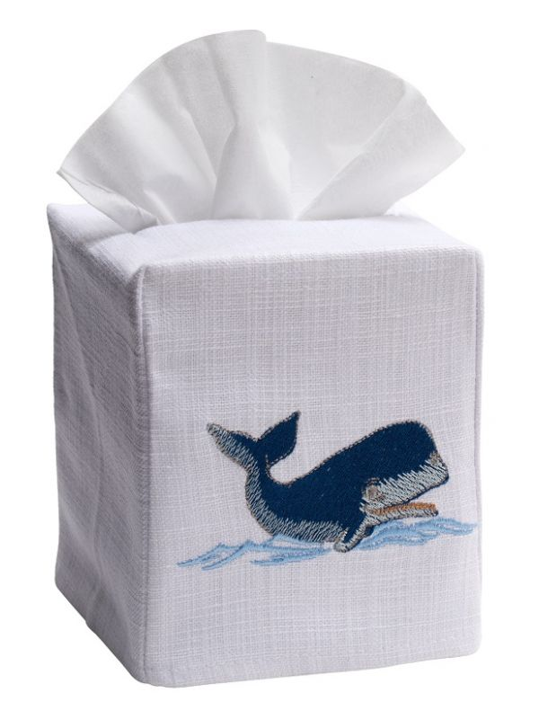 DG17-NWNA Tissue Box Cover, Linen Cotton - Nantucket Whale (Navy)