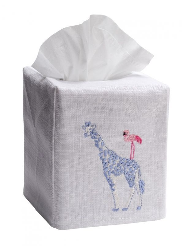 DG17-GFBP Tissue Box Cover, Linen Cotton - Giraffe & Flamingo (Blue, Pink)