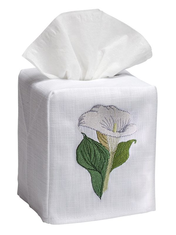 DG17-CALWH Tissue Box Cover, Linen Cotton - Calla Lily (White)