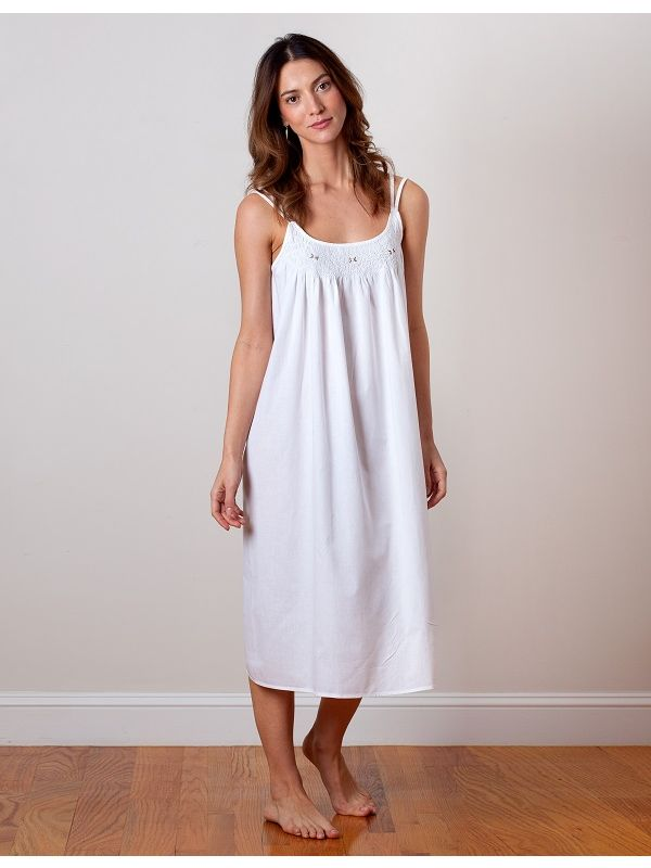 Chrissy White Cotton Nightgown** - EL331