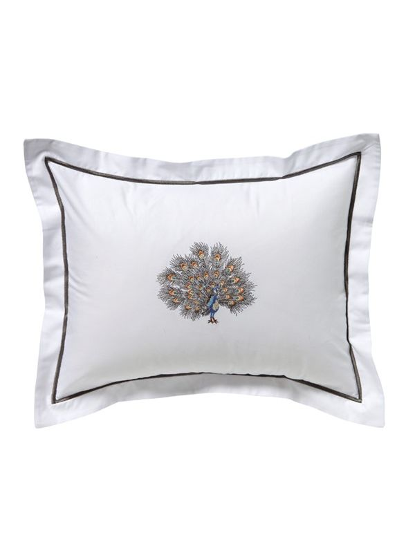 Dg78 Fpgpw Boudoir Pillow Cover Feathered Peacock Gold Pewter