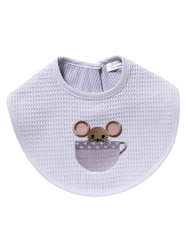 Bib, Mouse in Cup (Pewter) - DG133-MICPW