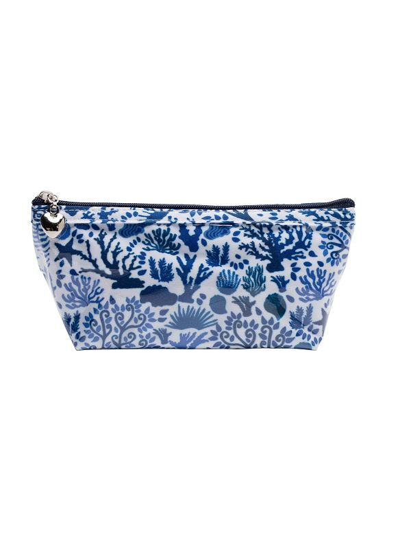 Cosmetic Bag (X/Small), Seashells (Blue) - DN338-SSBL