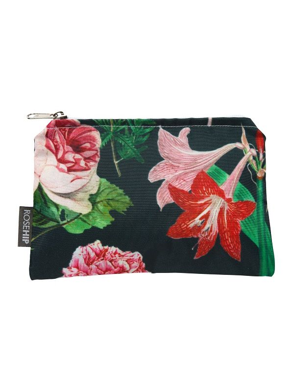 Makeup Bag, Peony Design (Black) - RH123-PBK