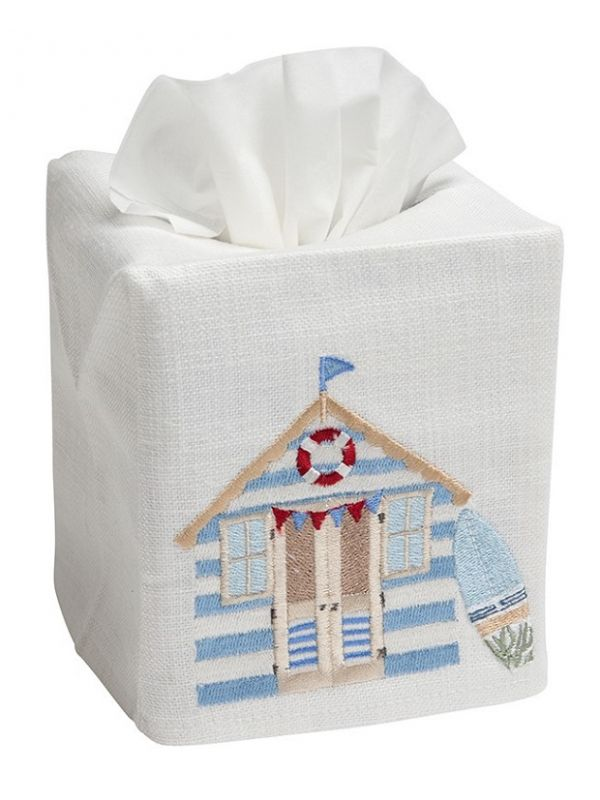 DG17-BCB Tissue Box Cover, Linen Cotton - Beach Cabana