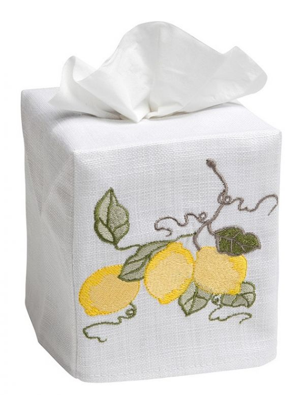 DG17-LBRY Tissue Box Cover, Linen Cotton - Lemon Branch