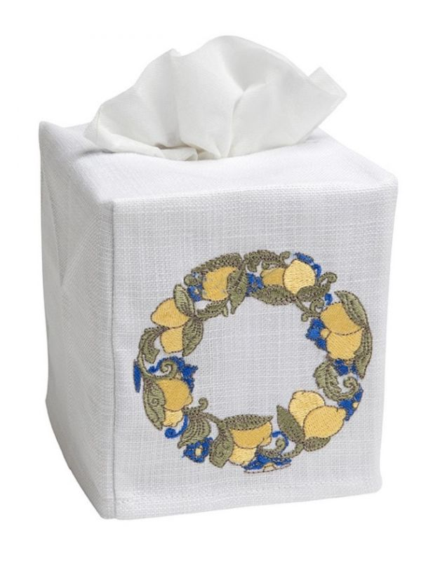 DG17-LWRY Tissue Box Cover, Linen Cotton - Lemon Wreath