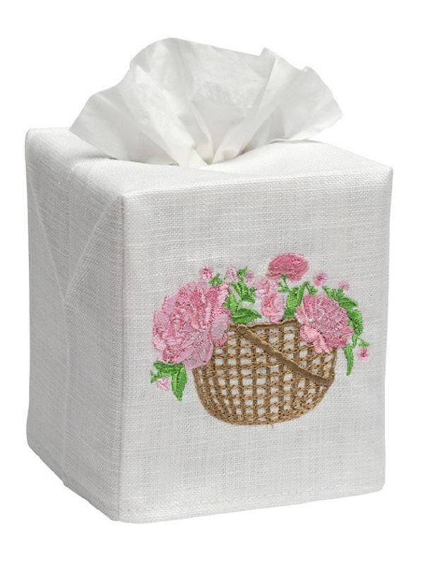 DG17-BPEPK Tissue Box Cover, Linen Cotton - Basket of Peonies (Pink)