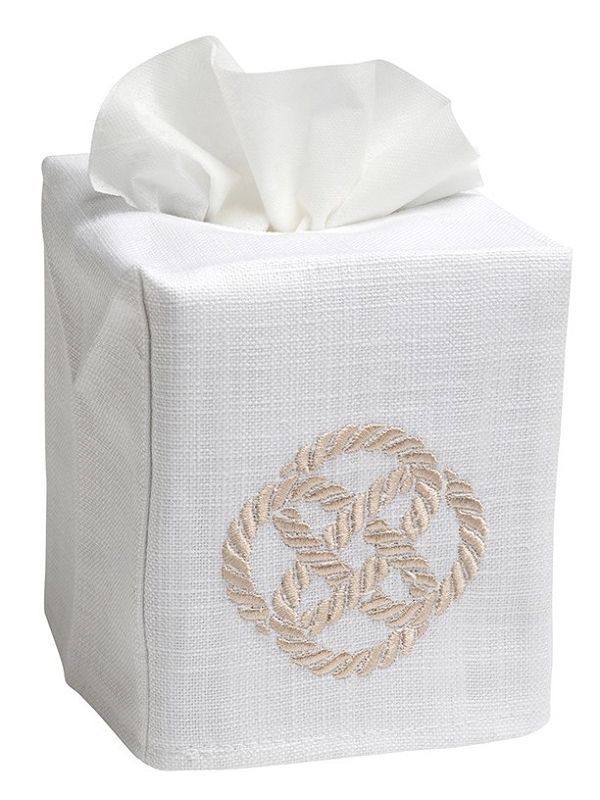 DG17-SKNBE Tissue Box Cover, Linen Cotton - Sailor's Knot (Beige)