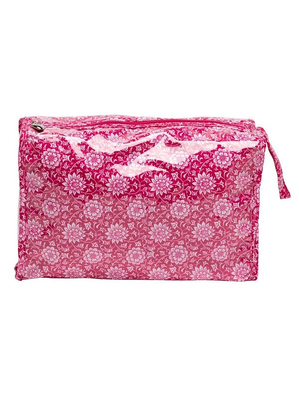 DN308-GBRA Box Cosmetic Bag - Vinyl Covered Top Zipper - Gerbera (Raspberry)