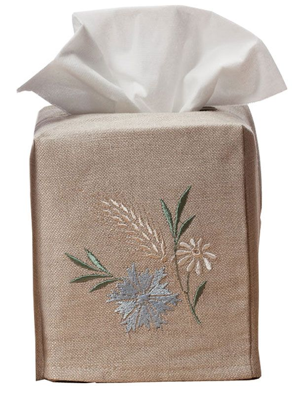 DG23-MWBL Tissue Box Cover, Natural Linen - Meadow (Blue)