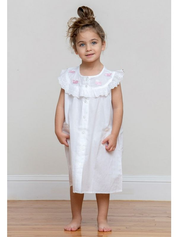 Wendy Whale White Cotton Dress, Embroidered** - EL307