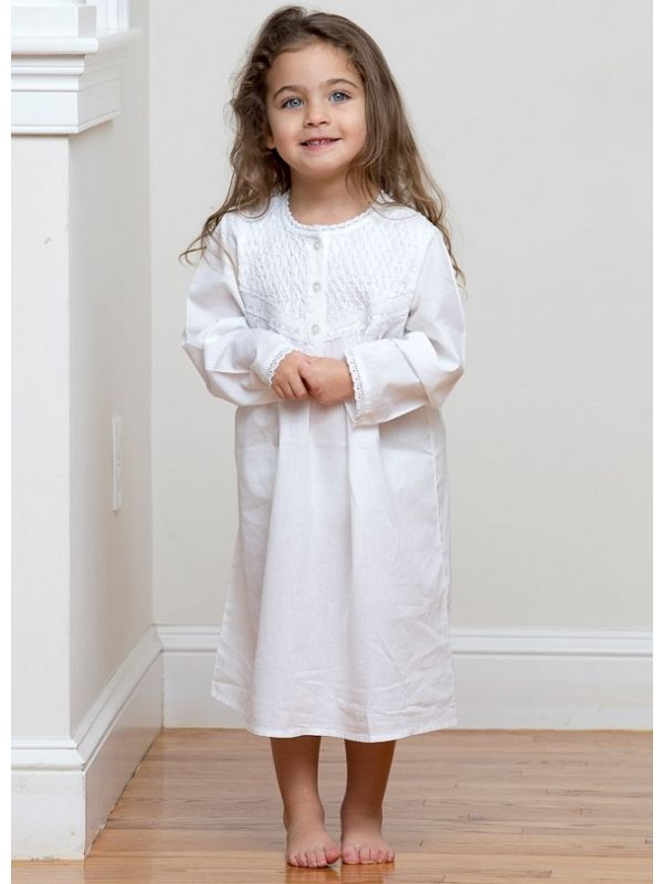 Sophia White Cotton Dress, Smocked** - EL314