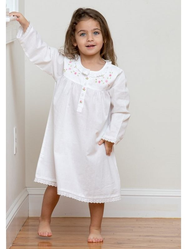 Ruby White Cotton Dress, Embroidered** - EL340