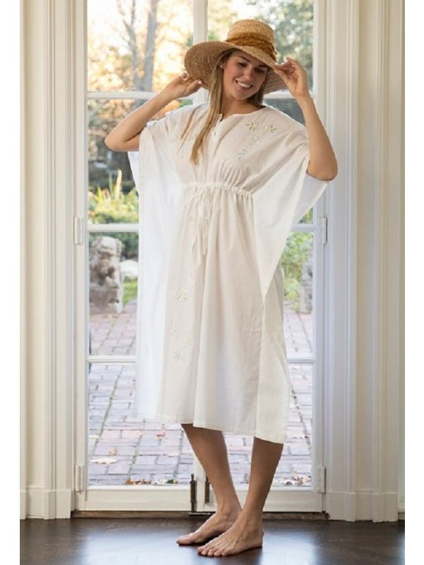 Caftan White Cotton, Embroidered** - EL342
