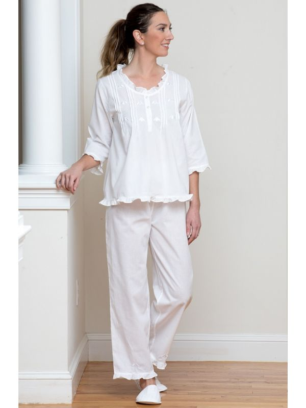 Caroline White Cotton Pajamas, Embroidered** - EL328
