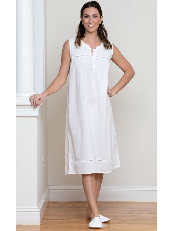 Lillian White Cotton Nightgown** - EL333