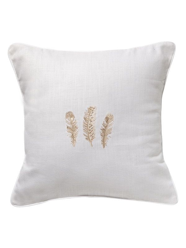 DG18-TFBE Throw Pillow, Linen / Cotton - Three Feathers (Beige)