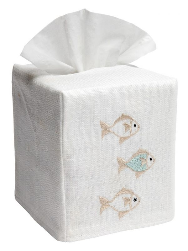 DG17-SOFAQ Tissue Box Cover, Linen Cotton - School of Fish (Aqua)