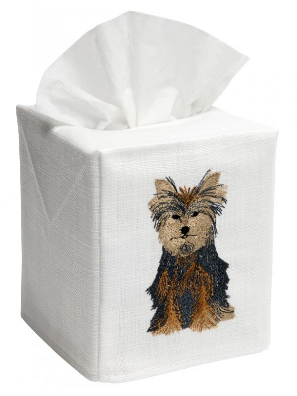 DG17-YD Tissue Box Cover, Linen Cotton - Yorkie Dog (Brown)